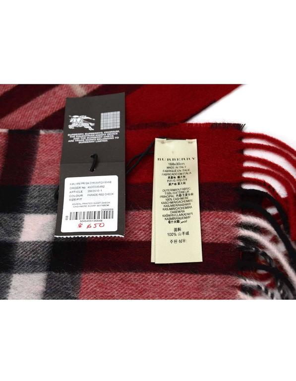 Burberry NEW Red Animal and Giant Check Print Cashmere ...