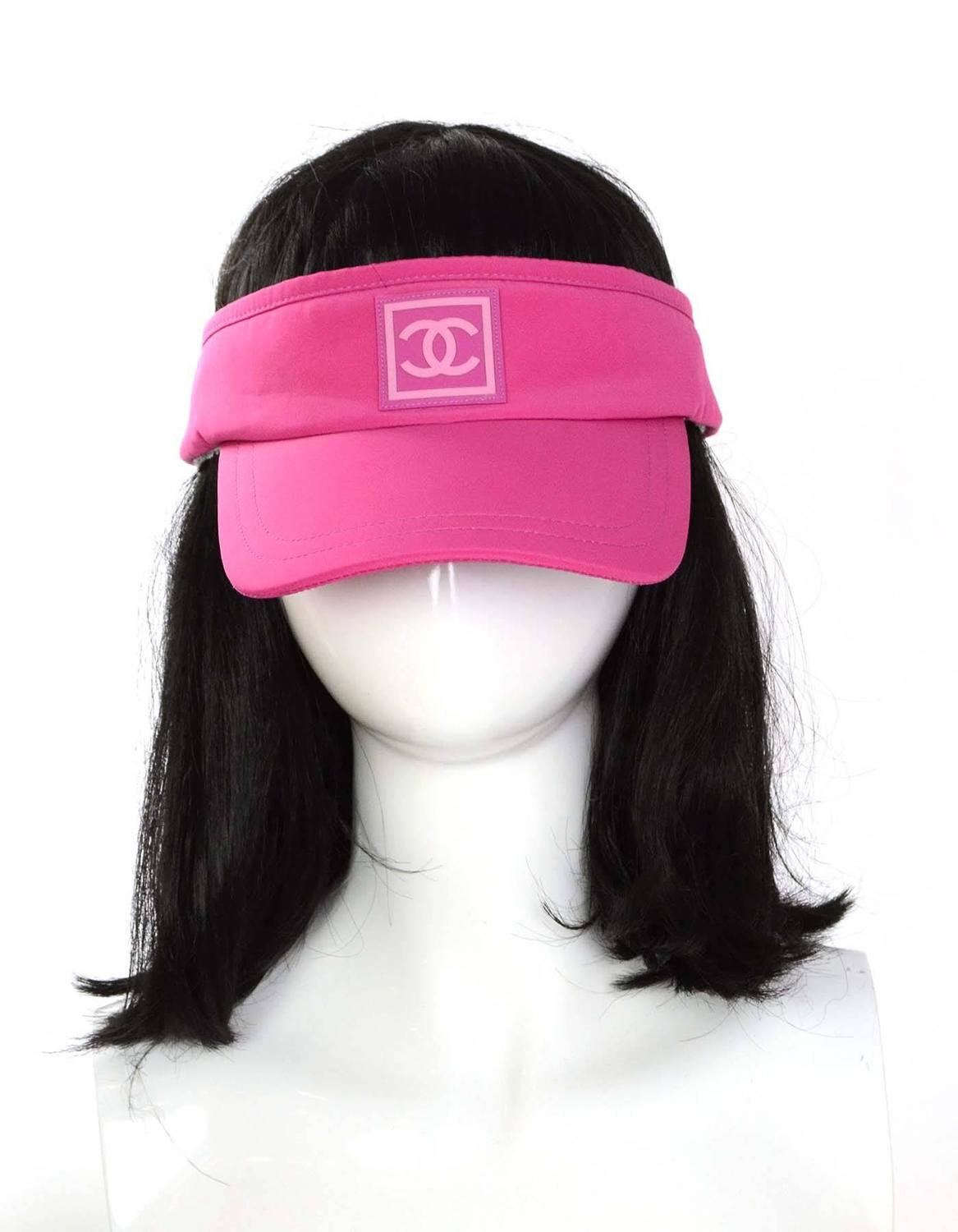 Chanel Pink Nylon And White Terrycloth Visor Hat For Sale