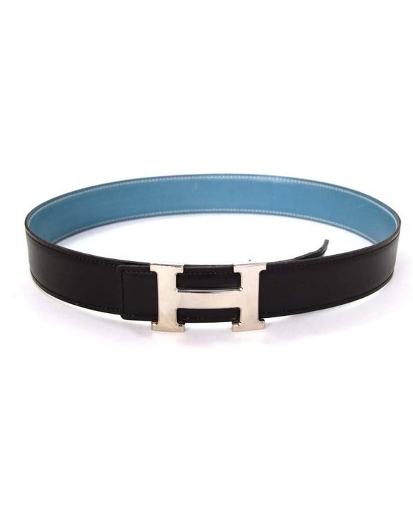 hermes vintage 99 black and blue leather h leather belt