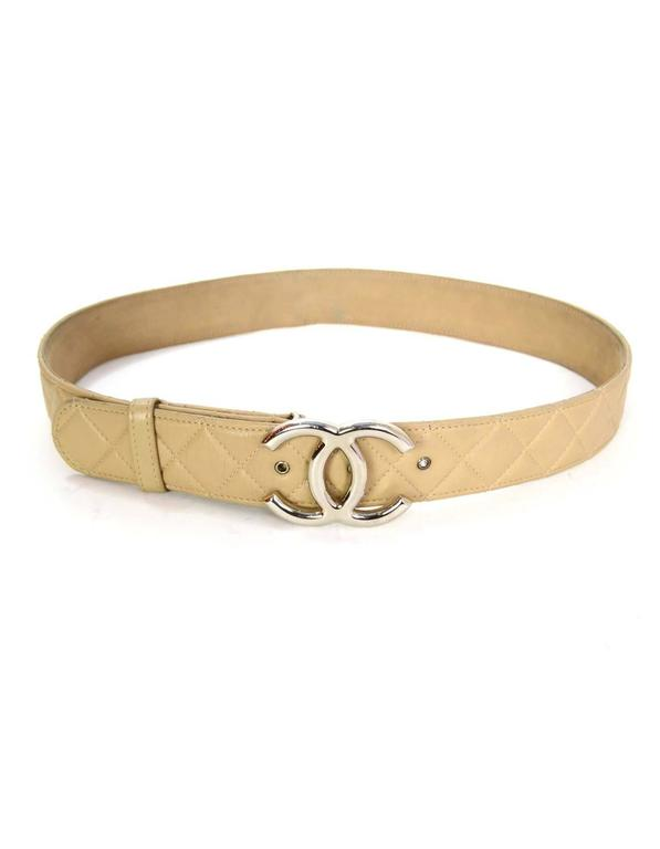 Chanel Beige Lambskin Leather Quilted Cc Belt Sz 90 36 Shw
