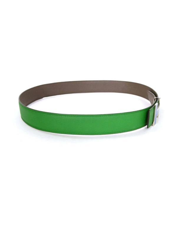 Hermes Bamboo Green & Grey Reversible 32mm Enamel H Belt Kit sz 85 4