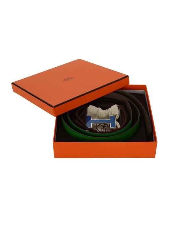 Hermes Bamboo Green & Grey Reversible 32mm Enamel H Belt Kit sz 85 2