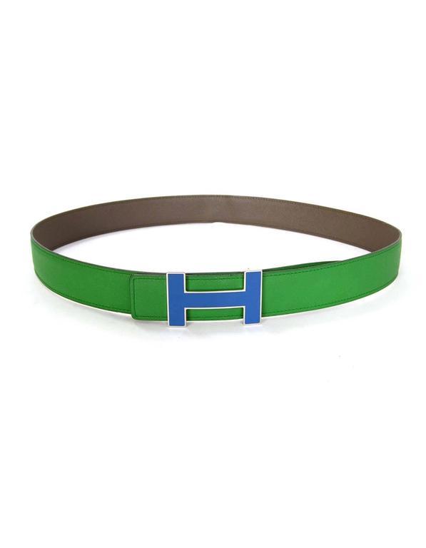Hermes Bamboo Green & Grey Reversible 32mm Enamel H Belt Kit sz 85 3