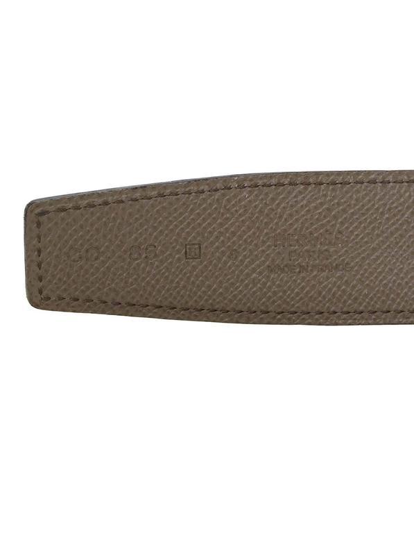 Hermes Bamboo Green & Grey Reversible 32mm Enamel H Belt Kit sz 85 5