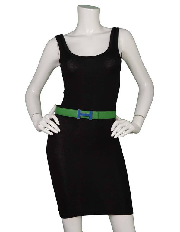 Hermes Bamboo Green & Grey Reversible 32mm Enamel H Belt Kit sz 85 6