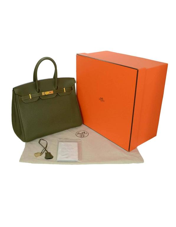 Hermes Olive Green Togo Leather Special Order 35cm Birkin Bag GHW 2