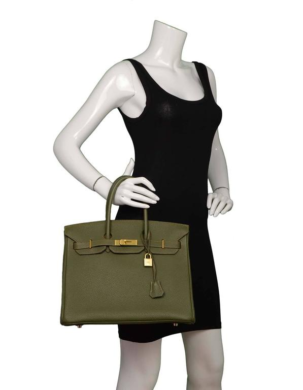 Hermes Olive Green Togo Leather Special Order 35cm Birkin Bag GHW 10