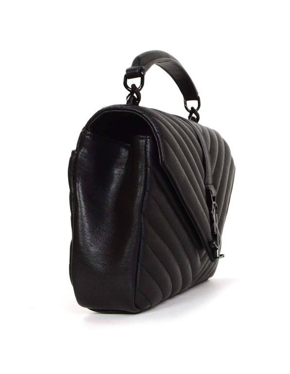 Saint Laurent Black Leather Chevron College Classic Medium Bag BHW ... 0b255ccabf47c