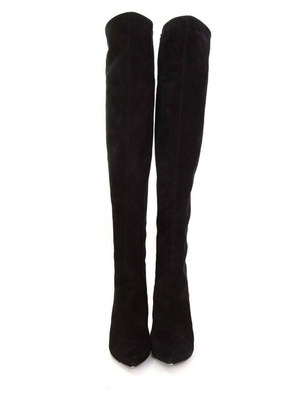 Saint Laurent Black Cat Suede Thigh High Boots sz 39 rt $1,495 3