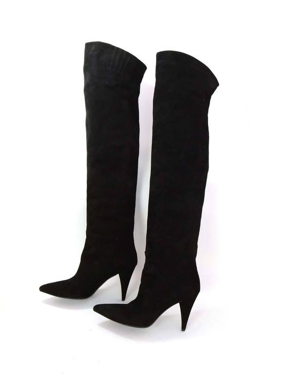 Saint Laurent Black Cat Suede Thigh High Boots sz 39 rt $1,495 2