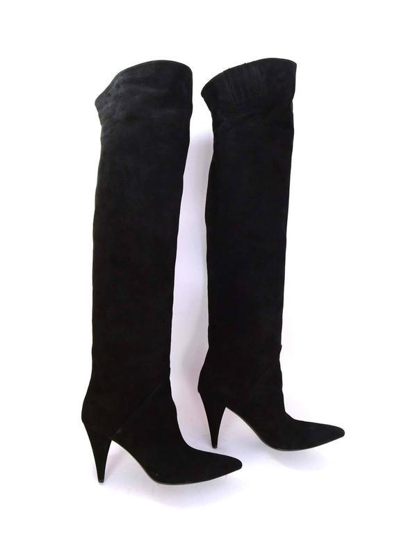 Saint Laurent Black Cat Suede Thigh High Boots sz 39 rt $1,495 4