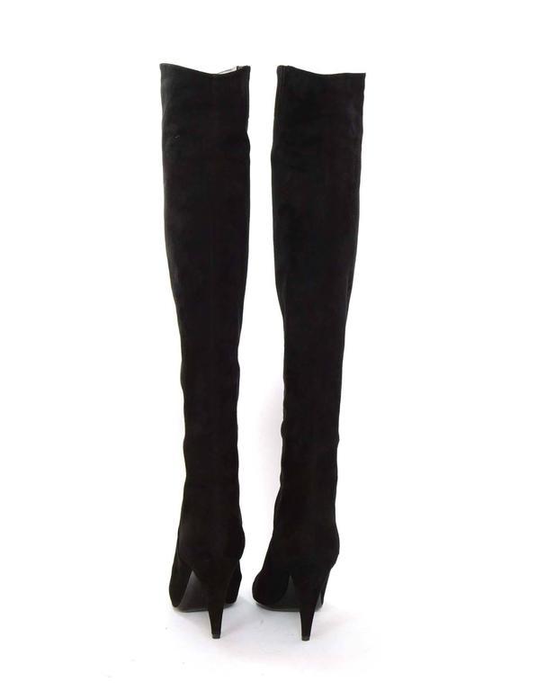 Saint Laurent Black Cat Suede Thigh High Boots sz 39 rt $1,495 5