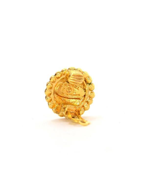 Chanel Vintage '87 Hammered Gold Hoop Clip On Earrings 4