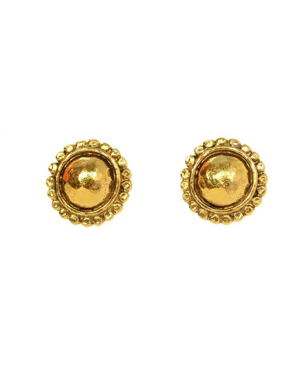 Chanel Vintage '87 Hammered Gold Hoop Clip On Earrings  Features detachable hoop at bottom- can also be worn as small clip on earrings  Made In: France Year of Production: 1987 Color: Goldtone Materials: Metal Closure: Clip on Stamp: 2 CC