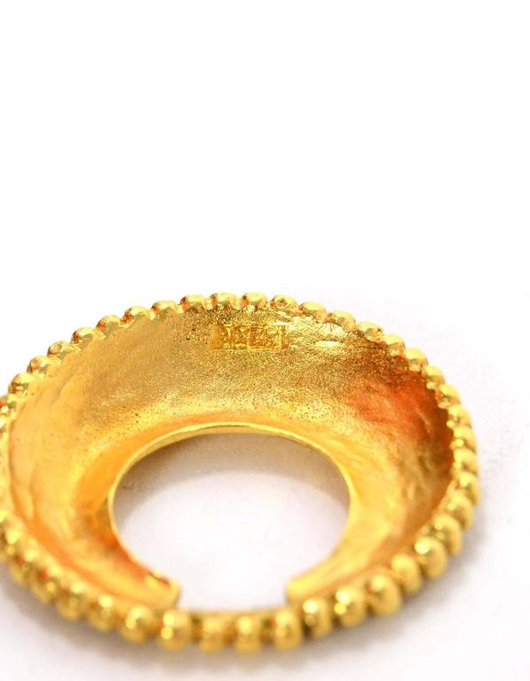 Chanel Vintage '87 Hammered Gold Hoop Clip On Earrings 3