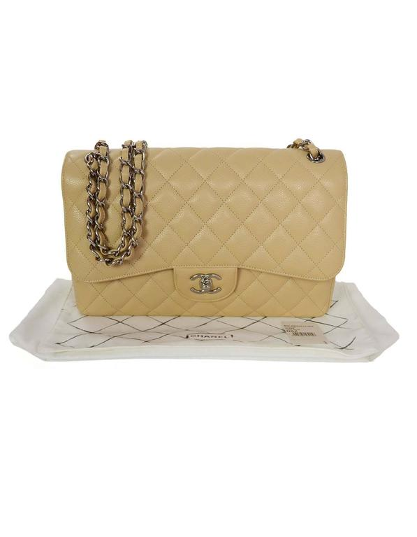 a95dd6841eecd9 Chanel Light Beige Caviar Leather Quilted Jumbo Double Flap Classic Bag SHW  For Sale 4