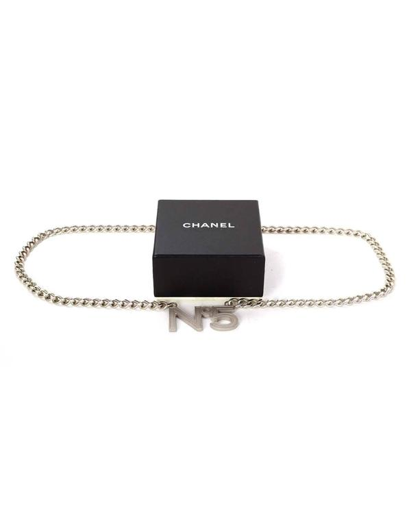 "Chanel Silvertone ""No 5"" Chain Link Belt sz 38"" In Excellent Condition For Sale In New York, NY"
