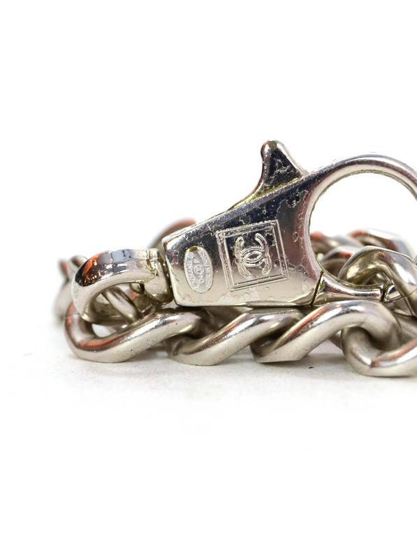 """Beige Chanel Silvertone """"No 5"""" Chain Link Belt sz 38"""" For Sale"""