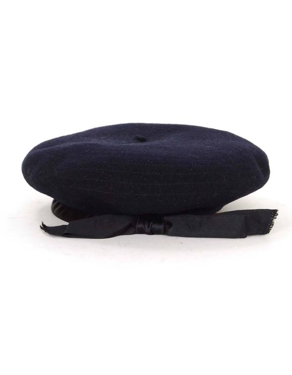 Chanel Vintage '70s Navy Wool Beret Hat  2