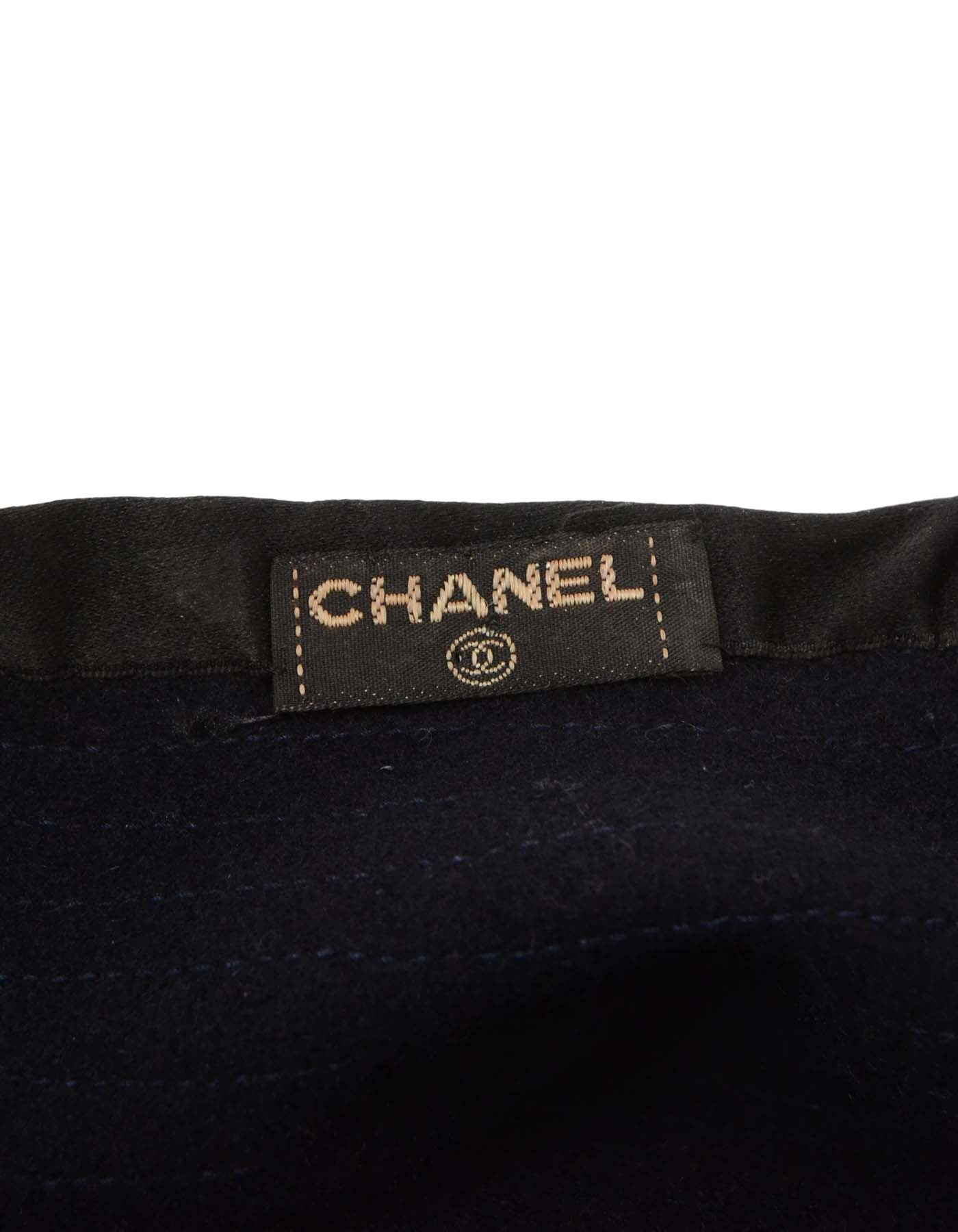 59f890a6666 Chanel Vintage  70s Navy Wool Beret Hat at 1stdibs