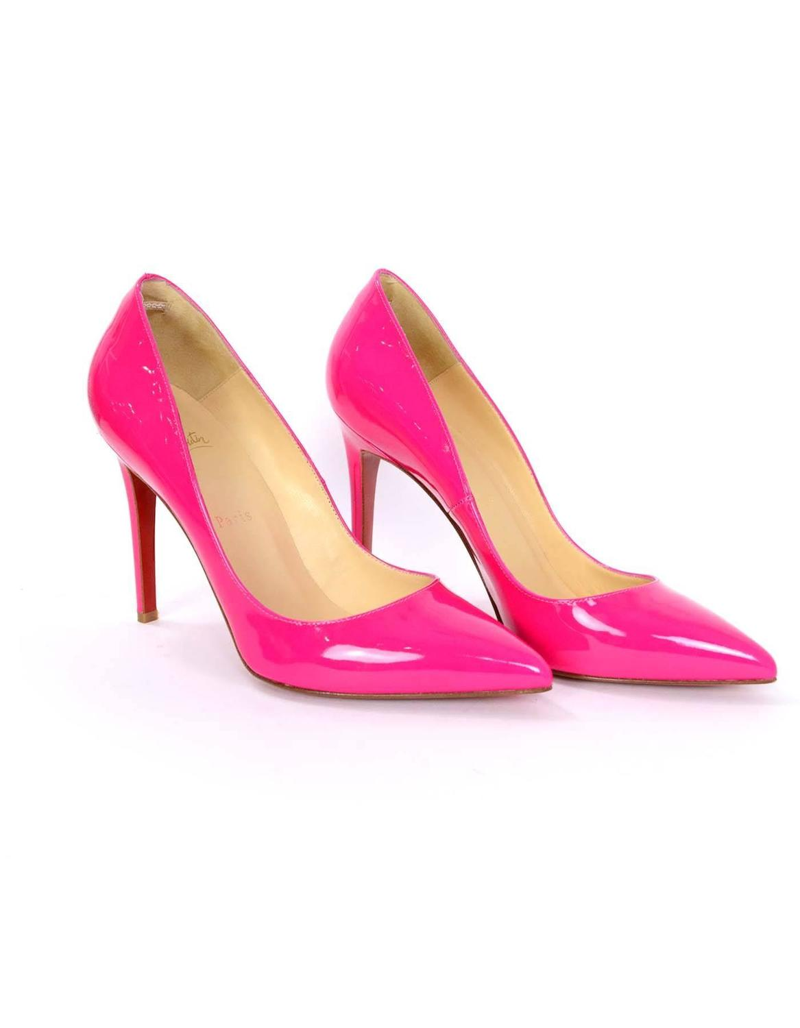 christian louboutin pink patent pigalle follies 100mm