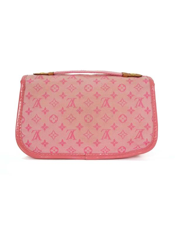 Louis Vuitton Pink Mini Lin Mary Kate Pochette GHW In Good Condition For Sale In New York, NY