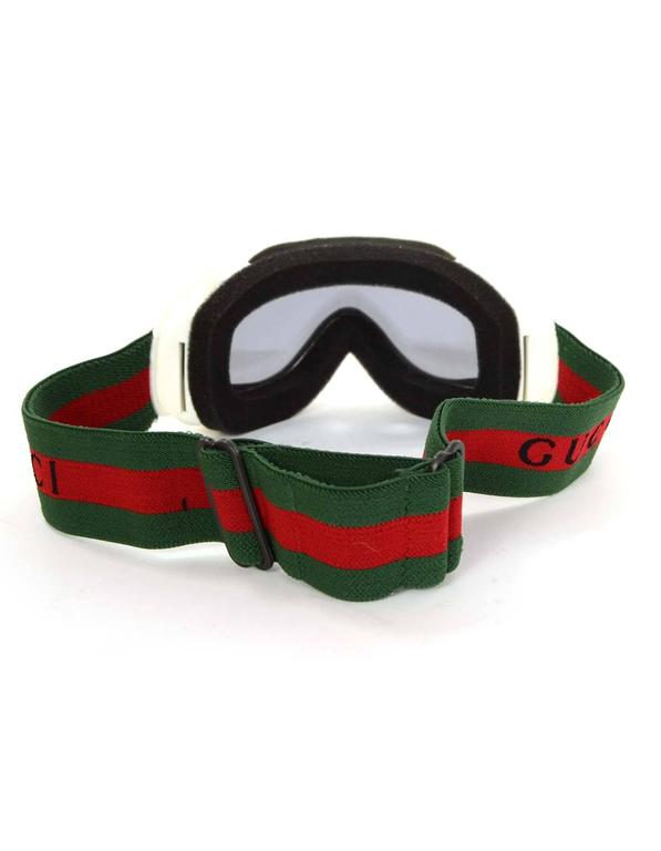 Gucci White Frame Ski Goggles w/ Green and Red Band rt. $431 For ...