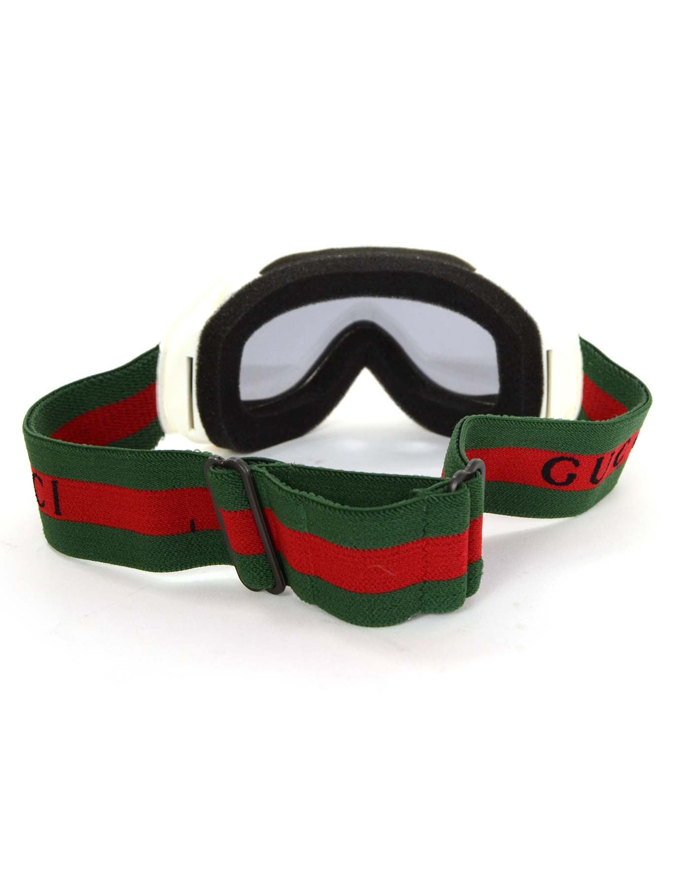 280fe93895f Gucci White Frame Ski Goggles w  Green and Red Band rt.  431 For Sale at  1stdibs