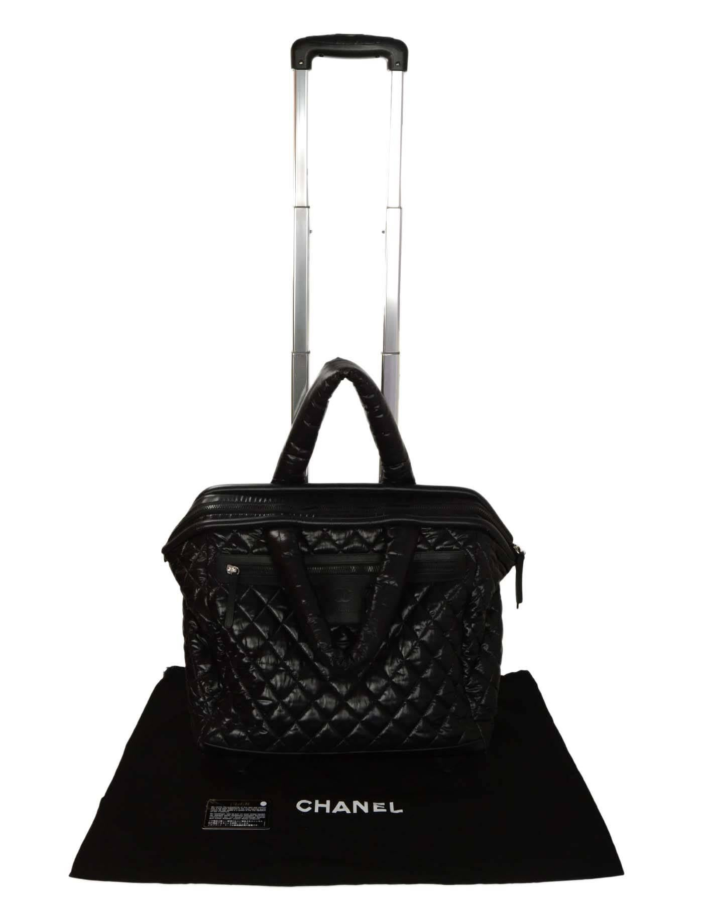 0b0a553ffca8 Chanel Black Coco Cocoon Quilted Trolley Luggage Wheely at 1stdibs
