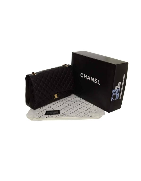 Chanel Black Quilted Lambskin Maxi Classic Double Flap Bag GHW 5