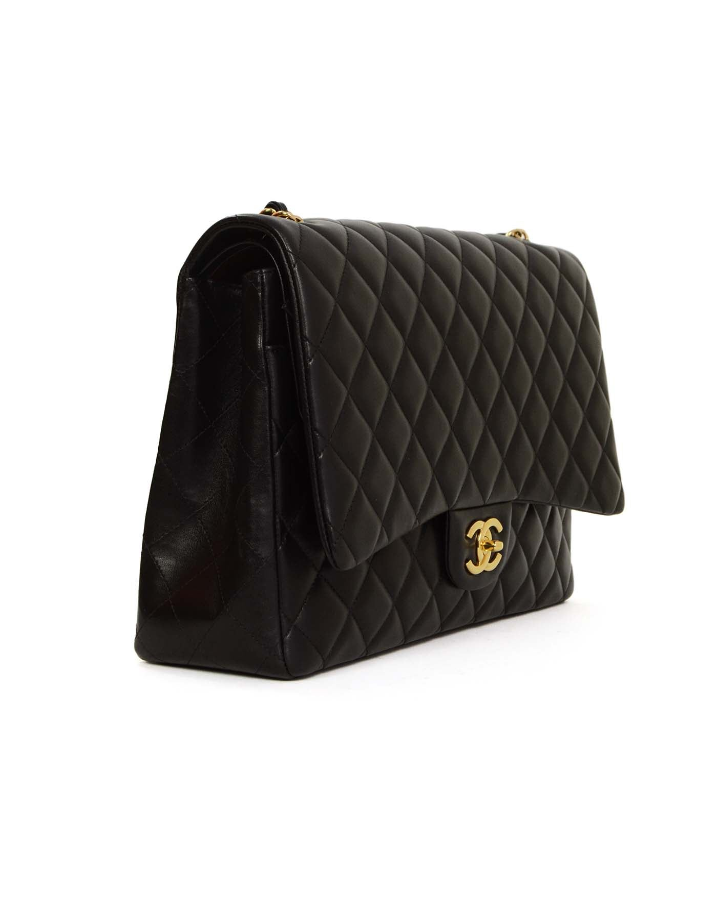 6dff5e8f22c4c3 Chanel Black Quilted Lambskin Maxi Classic Double Flap Bag GHW For Sale at  1stdibs