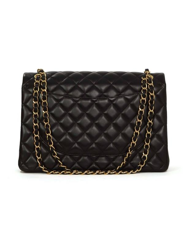 Chanel Black Quilted Lambskin Maxi Classic Double Flap Bag GHW In Excellent Condition In New York, NY