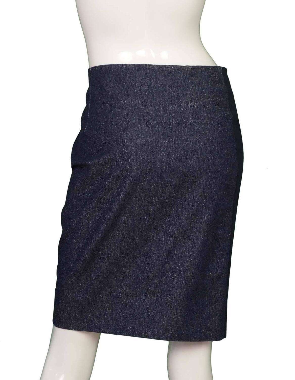 chanel blue glitter denim pencil skirt sz 40 for sale at