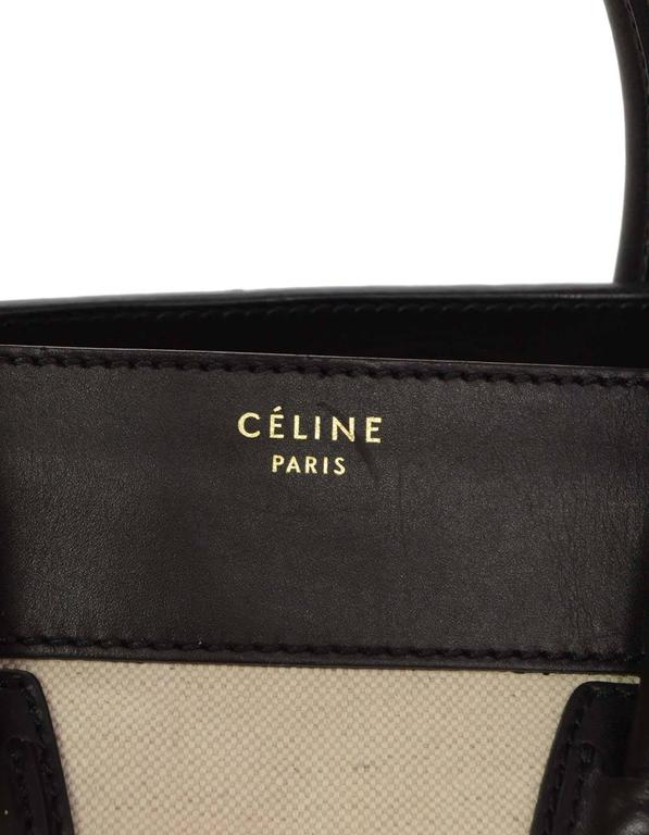 Celine Ivory & Black Canvas/Leather Mini Luggage Tote Bag GHW 8