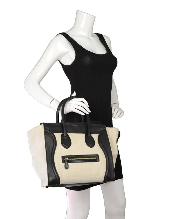 Celine Ivory & Black Canvas/Leather Mini Luggage Tote Bag GHW 10