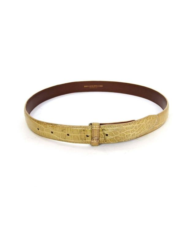 Kieselstein-Cord Beige Alligator Skin Belt Strap sz 85 In Good Condition For Sale In New York, NY