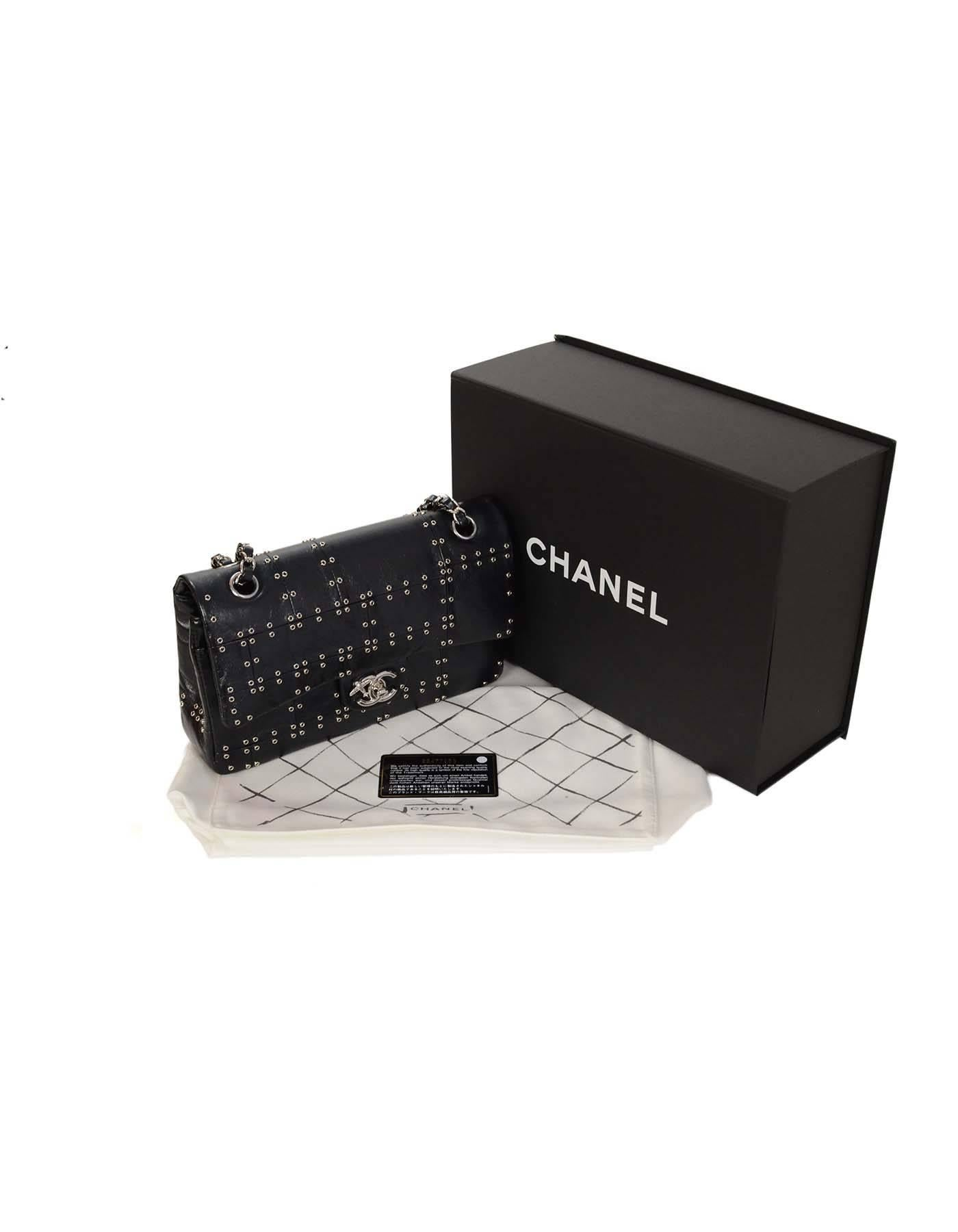 9110c5105e8a Chanel  16 RARE Black Calfskin Studded Airlines Medium Classic Double Flap  Bag S at 1stdibs