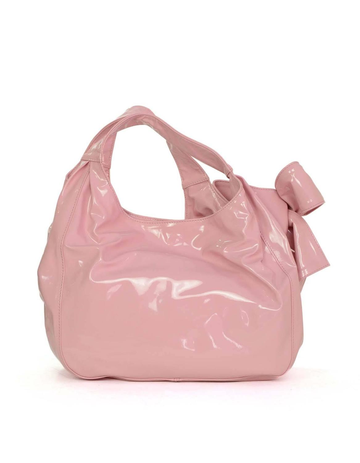 valentino pink patent large nuage bow shoulder tote bag