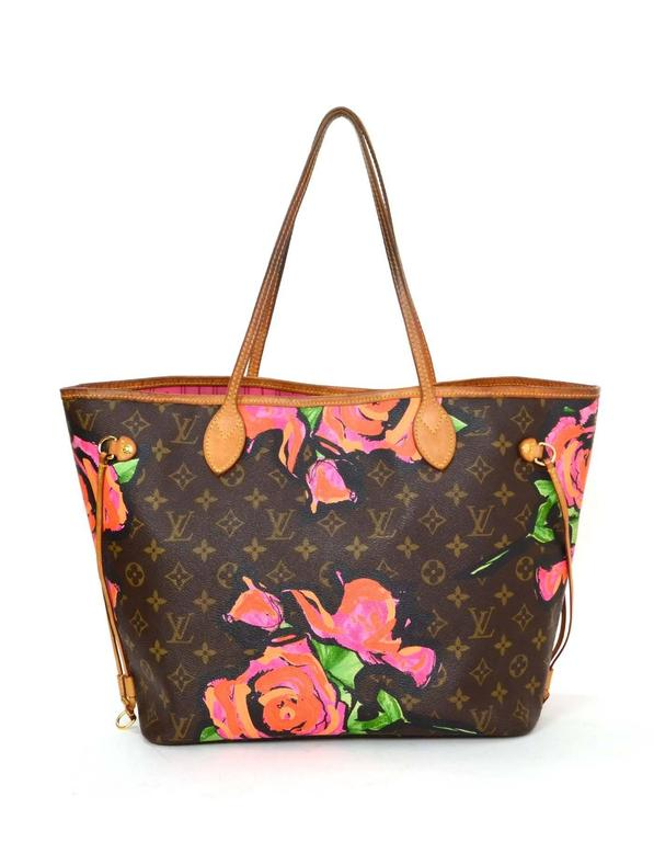 Louis Vuitton Monogram Roses Neverfull Mm Tote Bag Designed By Stephen Sprouse This Limited Edition