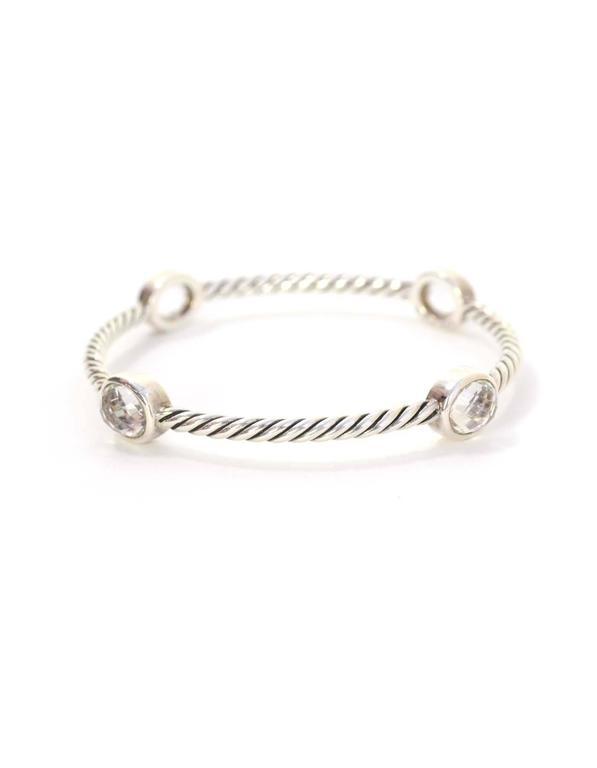 David Yurman Sterling Silver White Topaz 3mm Four Station Bangle Features