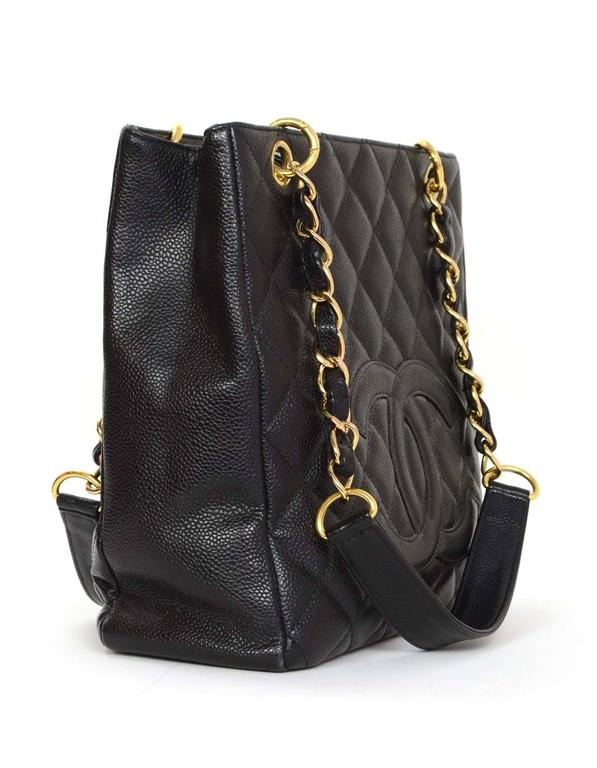 9788d0846948f7 Chanel Black Caviar Leather PST Petite Shopper Tote Bag GHW For Sale ...