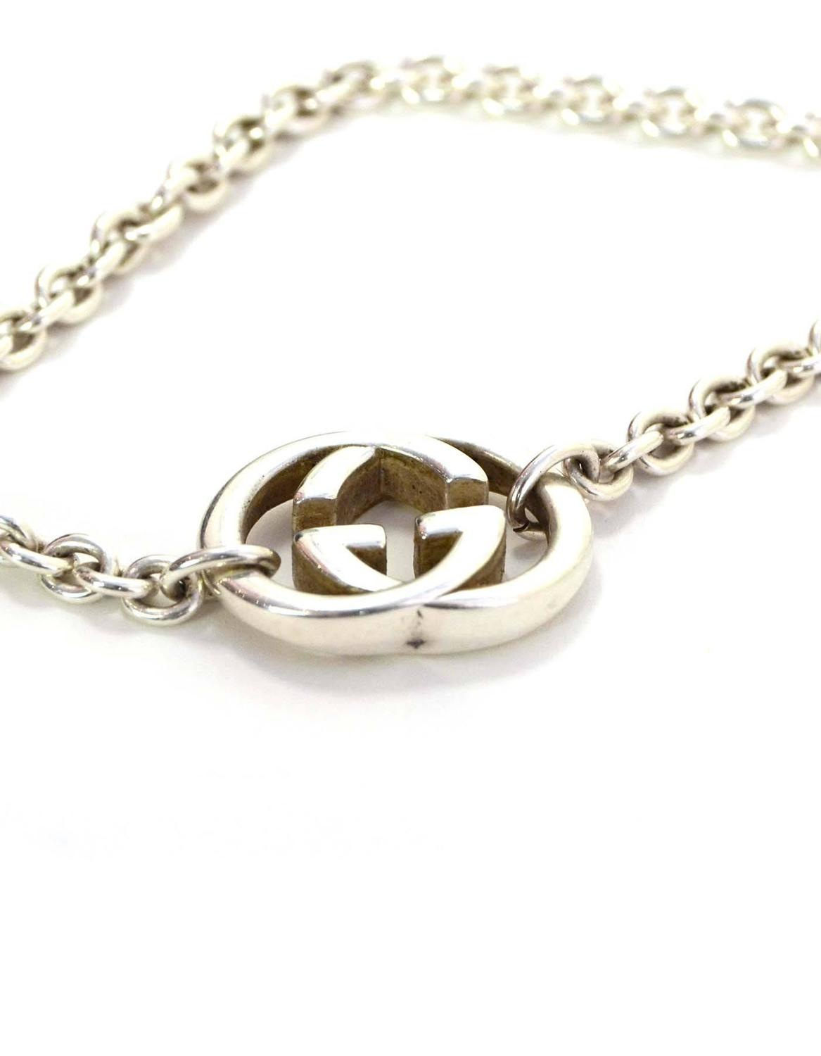Gucci Sterling Silver Logo Chain Necklace For Sale at 1stdibs