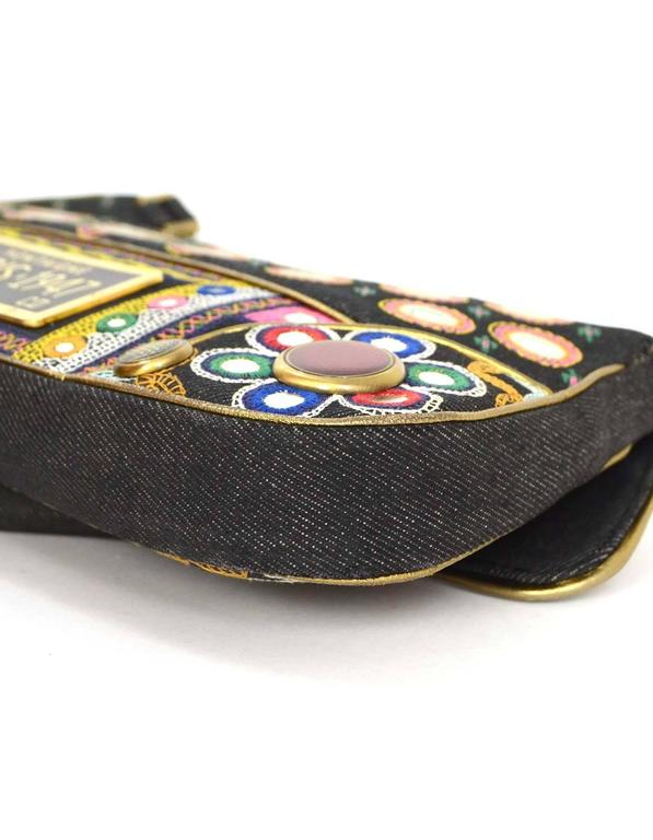 Christian Dior Demin Trailer Embroidered Crossbody Ghw At