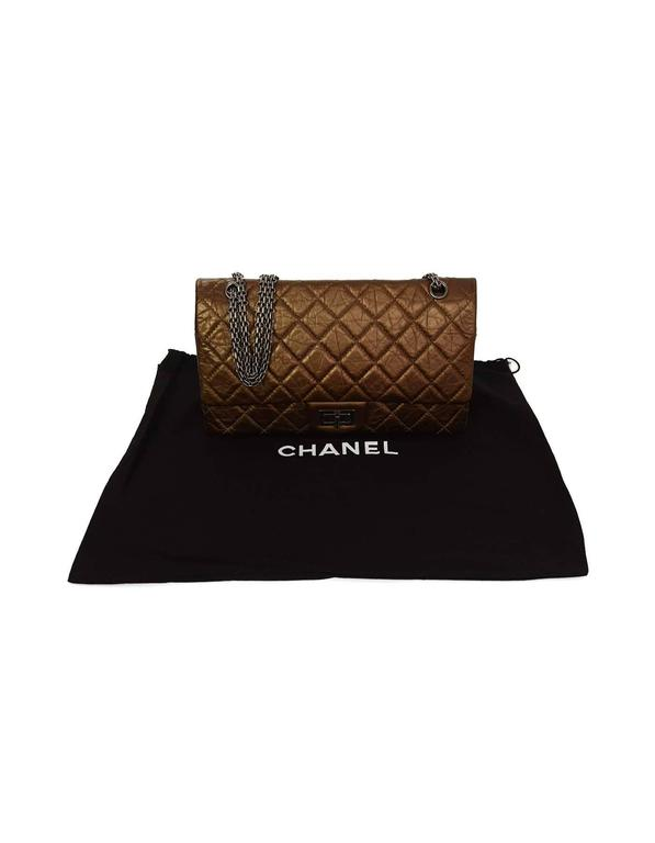 Chanel Bronze Calfskin 2.55 Reissue 227 Double Flap Classic Bag For Sale 4