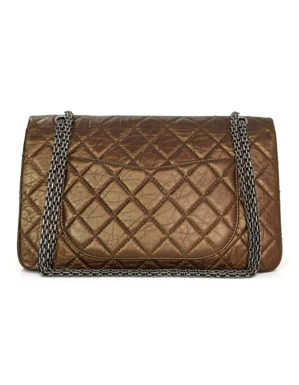 Brown Chanel Bronze Calfskin 2.55 Reissue 227 Double Flap Classic Bag For Sale