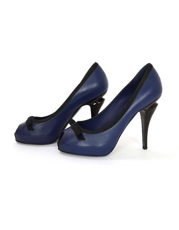 0cad3f14f00 Chanel Navy and Black Bow Peep Toe Pumps sz 36.5 For Sale at 1stdibs