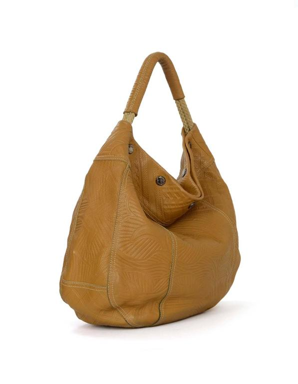 Prada Tan Embossed Hobo Bag Features Woven Rope Shoulder Straps Made In Italy Color
