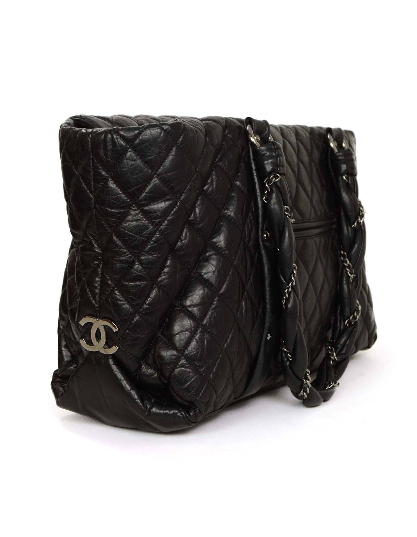 2daf5bbc540858 Chanel Black Distressed Quilted Lady Braid Ligne Tote Bag SHW For Sale at  1stdibs