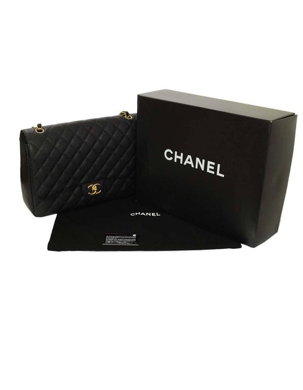 Chanel Black Quilted Caviar Classic Maxi Double Flap Bag GHW For Sale 3