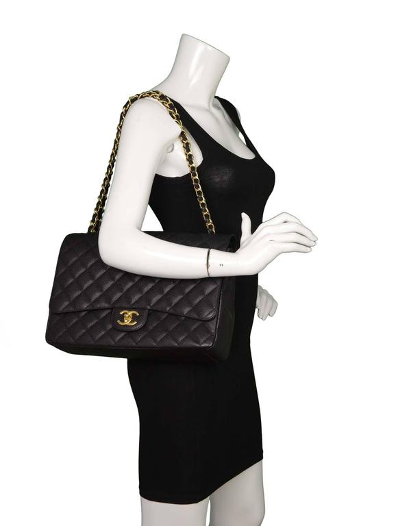 Chanel Black Quilted Caviar Classic Maxi Double Flap Bag GHW For Sale 5